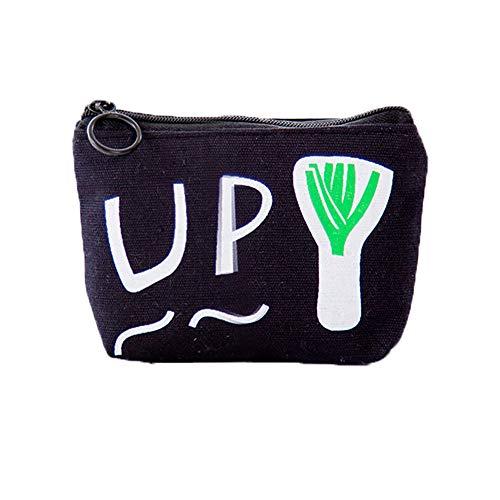 Hacoly Zipper Geldbörse Münzen Tasche Portemonnaie Mädchen Wallet Card Case Gemüse Geldtasche Kleine Geldbörsen Mobiltelefon Aufbewahrungsbeutel Mini Kosmetik Beutel-Grüne Zwiebel