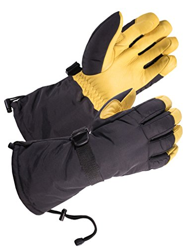 SKYDEER Waterproof Cold Weather Deerskin Leather Winter Ski Gloves (SD8648T/L)