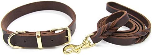 Kom Waire Genuine Real Leather Dog Collar and Leash Set for Training and Walking Heavy Duty product image