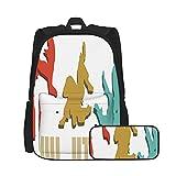 SDBUYW-ZQ Mochila escolarVintage Retro Jiu Jitsu, Mochilas para niños, adolescentes, estudiantes universitarios y estuches para lápices, juegos de dos piezas.
