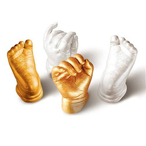 SmallPocket 3D Baby Abformset Gipsabdruck Baby Handabdruck & Fußabdruck Andenken Geschenk mit Abformmasse, Gipspulver, Goldpulver, Pinsel