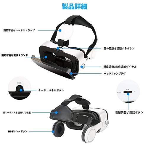 『Virtoba X5 VR BOX 3Dメガネ 3Dグラス VRゴーグル スマホゴーグル 焦点距離調節(ヘッドセット実装)』の5枚目の画像