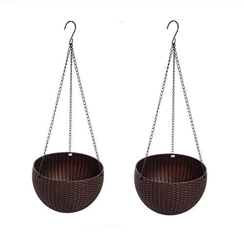 yisent Cestino a forma di vaso, vaso da appendere con 2pezzi rotondi in plastica d' irrigazione a forma di vaso per piante da interni ed esterni Coffee
