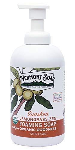 Vermont Soap SunShea Organic Lemongrass Foaming Hand Soap, USDA Certified Organic Moisturizing Soap for Dry Skin 12oz Dispenser (12oz Lemongrass Zen)