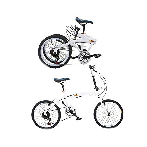 CREACEC Faltendes Fahrrad, 7-Gang-Faltrad-Faltrad Advanced Folding Bike Safe Mountainbike Camping Fahrrad Schnellfaltsystem,Weiß