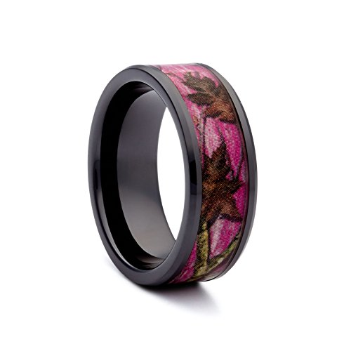 #1 Camo Black Ceramic Pink Camo Band - Pink Camouflage Wedding Ring for Women - Engagement Black Rings - Ring Size 5