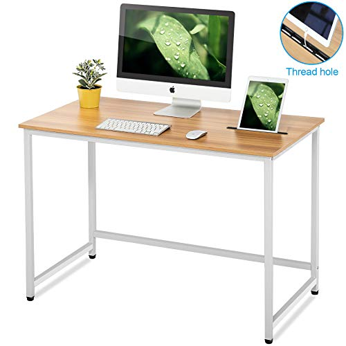 FITUEYES Mesa de Ordenador con Ranura Escritorio para computadora 110x60x75 Madera Natural y Metal Blanco CD111002WW
