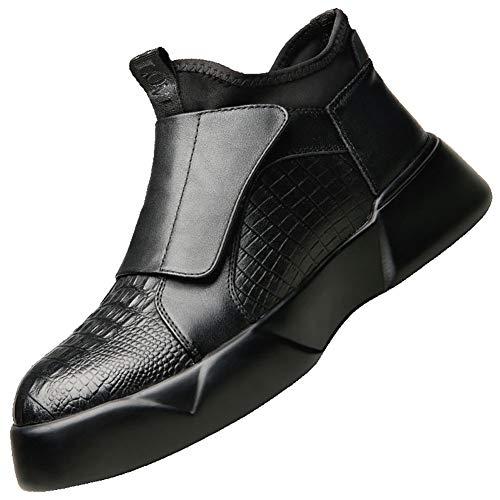 FUNSHE Mode Martin StiefelHerrenschuhe Mode Martin Stiefel Krokodilleder Strukturierte Schuhe Lederstiefel im englischen Stil Kurze Lederstiefel Winterstiefel Atmungsaktive Stiefeletten-42EU