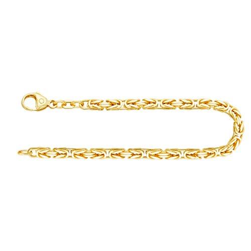 EDELWEISS Pulsera para Hombre de Oro Real de 3.2 mm, Pulsera del Rey Oro Amarillo 18 k 750, Pulsera de Oro con Sello, con сierre de mosquetón, Long. 22 cm, p. 19.5 g