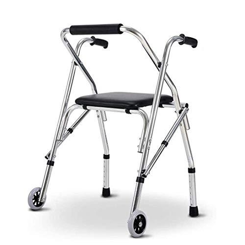 Home Equipment DYB Rollator Andador con ruedas para adultos Andador con andador con asiento y ruedas Portátil, ligero, plegable, para personas mayores, asistente de paso para la casa al aire l