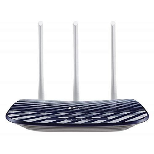 TP-Link Archer C20 Dual Band WLAN-router (300 Mbit/s naar 2,4 GHz + 433 Mbit/s op 5GHz, 4 10/100 LAN + 1 10/100 WAN poorten, ondersteunt eenvoudige gast-netwerk toegang en kinderbeveiliging) blauw wit