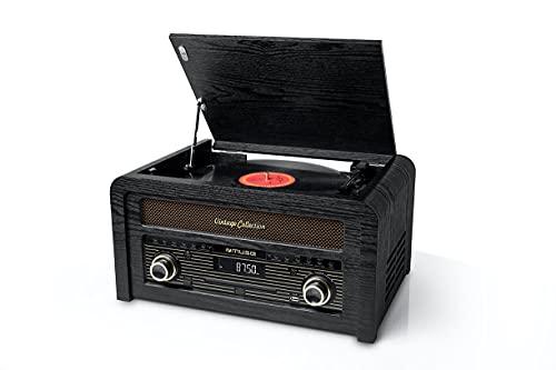 Muse MT-110 B - Micro Sistema CD y radio con Giradiscos Muse tres velocidades, bluetooth, USB y lector de tarjetas SD, caja madera, color madera