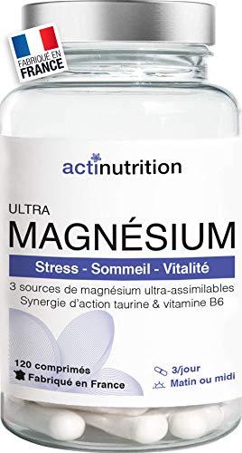 ULTRA Magnésium | Bisglycinate, Citrate et Malate deMagnésium Ultra-assimilables | 414mg/j 120 comprimés | Taurine et B6 | Stress, Sommeil et Vitalité | Fabriqué en France par Actinutrition