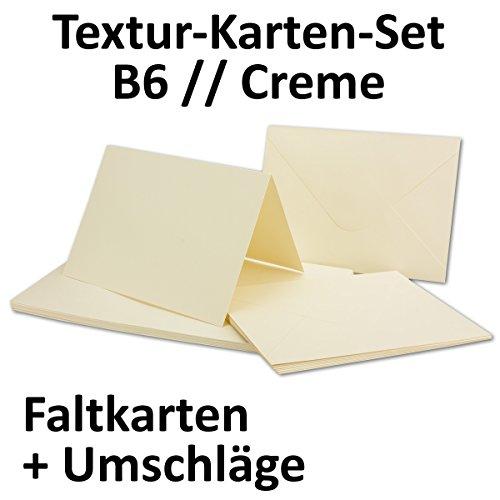 Vouwkaartenset inclusief enveloppen, blanco uitnodigingskaarten met structuurreliëf, groter dan DIN B6, uitklapkaarten met reliëf patroon, Gustav Neuser® 100 Sets crème