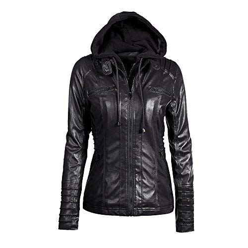 Find Bargain Women's Moto Biker Jacket Slim Fit Hooded Jacket Overcoat Long Sleeve Zipper Pockets Re...