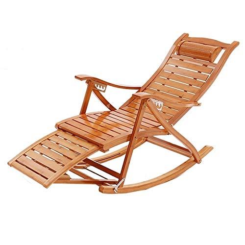 NGDDGS Silla Plegable reclinables Tipo S bambú Mecedora Viejo Silla Siesta Ajustable Silla de Masaje Silla Perezosa sillón de jardín Tumbona Tumbonas