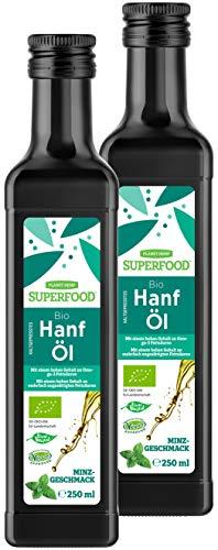 Bio Kaltgepresstes Hanföl mit Minz - 2 x 250 ml - wirkt auch perfekt als Massageöl