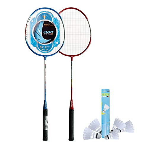 YoungLA Badminton Rackets for Adults and Kids | Premium Quality 12 Shuttles with 2 Bats with Carrying Case 0583 (3P)
