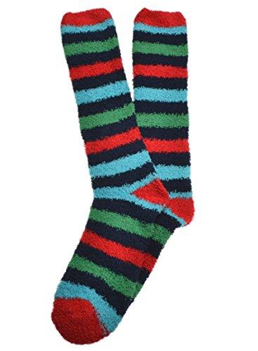 Chaussettes rayées pour homme - doux, chaud et confortable - Rouge - Taille Unique