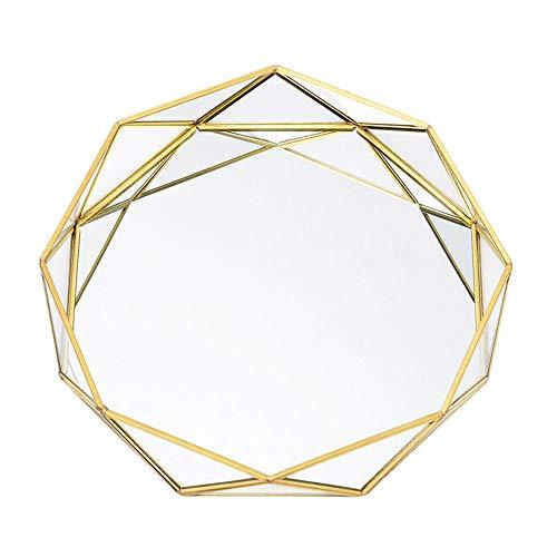 KKTICK Plato redondo de almacenamiento de cosméticos, bandeja de vidrio de almacenamiento de joyas, plato de postre de pastel occidental, organizador de maquillaje de estilo nórdico (17,5 x 3,9 cm)