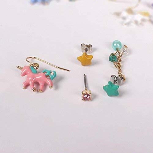 Stijlvolle Eenvoud Stijlvolle Eenvoud Mode Trend van De Nieuwe Leuke en Mooie Eenhoorn Kleur Sterren Oorbellen Stijlvolle Eenvoud Sieraden, Roze, MN roze