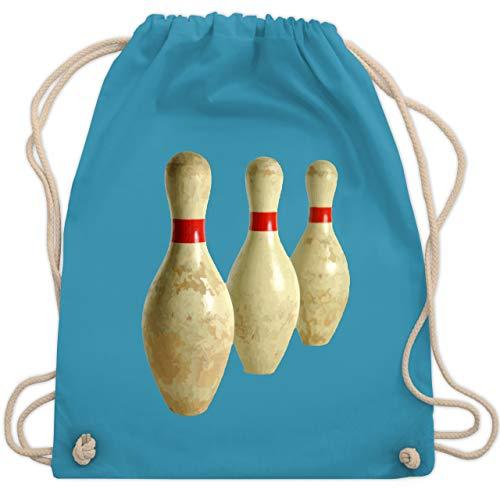Shirtracer Bowling & Kegeln - Alte Pins Kegel Vintage - Unisize - Hellblau - kegel pin - WM110 - Turnbeutel und Stoffbeutel aus Baumwolle