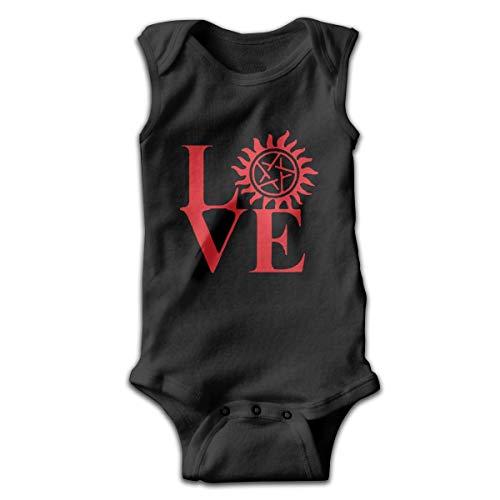 Wnocdmv Newborn Infant Baby's Love Supernatural Sleeveless Romper Jumpsuit Pajamas Outfit