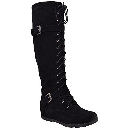 Generation Y Women's Knee High Boots Lace Up Combat Buckle Straps Zipper Closure Black Suede Size 10