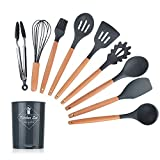 WHEEJE Silicone Kitchen Cooking Utensils Tools Set Non-stick Spatula Shovel Baking Kitchenware Cookware Kitchen Accessories Gadgets (Color : 9PC B With Container)