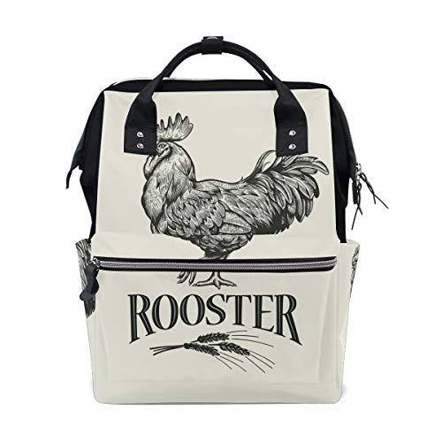 Sac à langer rétro coq de la ferme, sac à langer de grande capacité multifonction pour les voyages
