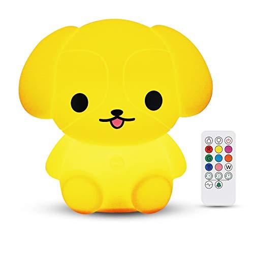 Nachtlicht Baby, Redmoo Nachtlicht Kind Silikon LED Nachtlicht Kinder Touch Dimmbar USB Nachtlampe mit Fernbedienung 9 Farben Stimmungslicht USB Aufladung für Kinderzimmer Schlafzimmer (Hund)