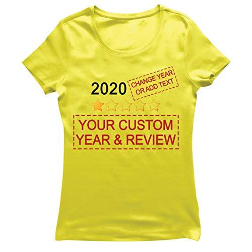 lepni.me Camiseta Mujer Muy Malo No Recomendaría Comentarios Valoración Personalizada de Estrellas y Texto 2021 Revisión (S Amarillo Multicolor)