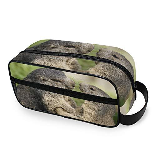 Animal Marmot Nager Wildlife Tragbare Make-up-Tasche Kosmetiktasche für Frauen Mädchen Multifunktions-Reisetasche Kulturbeutel Kulturbeutel Kulturbeutel Leinen Aufbewahrungstasche