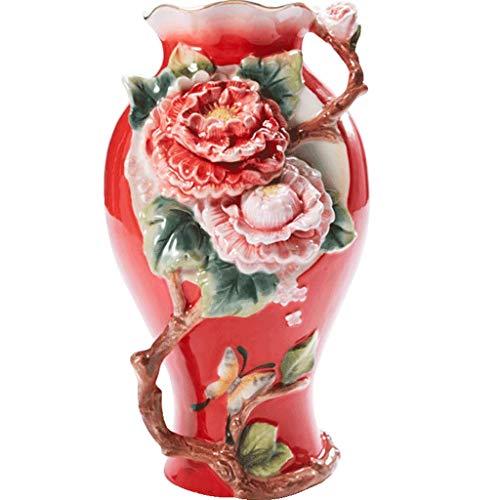 Vaas Centerpieces Rood Grote Keramische Vaas Feestelijke Bruiloft Kruik Hydroponische Opslag Bloem Hoge Vaas Pioen Vlinder vaas keramische HUYP