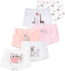 LeQeZe Braguitas Bóxer Ropa Interior para Niñas 2-11 años(Paquete de 6)(Girls Rabbit 04,8-9 años)