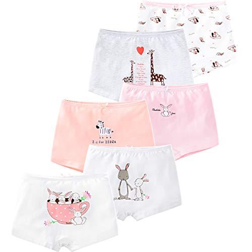LeQeZe De 6 Bébé Fille Panty Culotte Filles Shorty Enfants Coton Boxer Slip Pantalon sous-Vêtement 2-11 Ans (Girls Rabbit 04, 2-3ans)