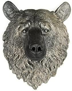 Near and Deer Faux Taxidermy Bear Head Wall Mount, Black/Metallic Caramel