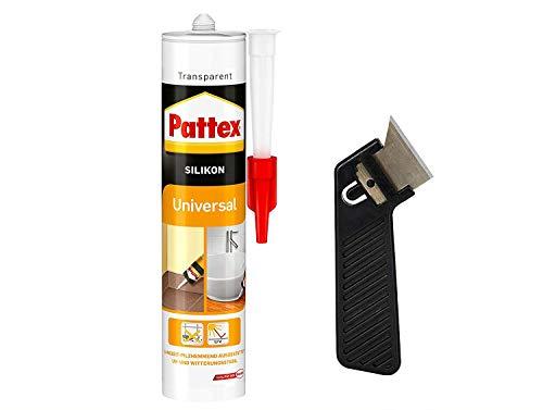 """Pattex Silikon Universal, transparent, Besonders vielseitig einsetzbar, UV- und witterungsbeständig, elastisch und abriebfest, Spar-Set mit 300 ml und einem Fugenkratzer """"Pattex Fugenhai"""", 9HPFUSTP1X"""