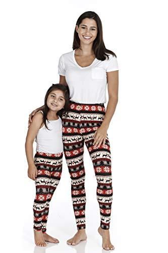 just one Women's and Girl's Soft Brushed Printed Christmas Leggings - Fair Isle Raindeer