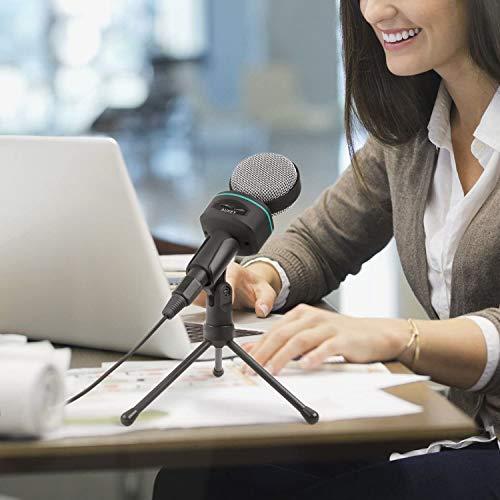 AUKEY MI-W1 Microfono a Condensatore da Tavolo, 3,5 mm per Computer, Smartphone, Tablet (Nero e Grigio)