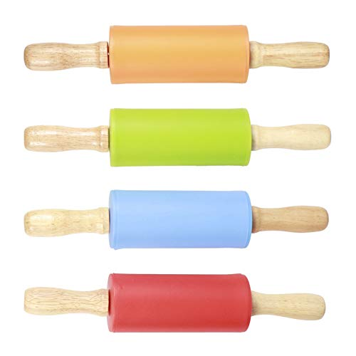Bicaquu Ergonomic Silicone Baking Rolling Pin, Dough Roller, Non‑Stick Mini Pizza Bakery for Cookies Making Cake Noodles