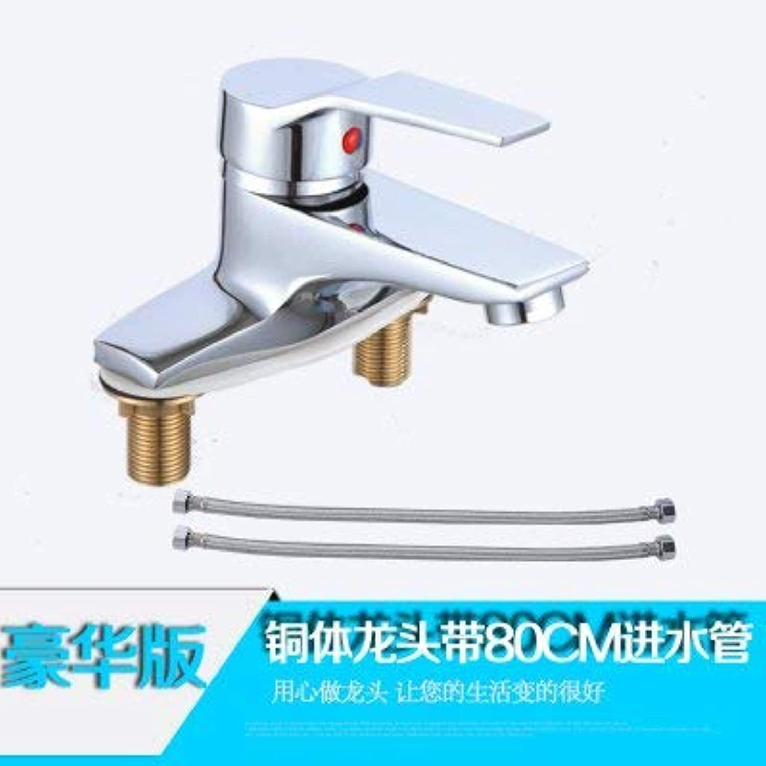 Oudan Basin Mixer Tap Ya e 2-hole basin Washbasin Faucet hot and cold basin faucet 3-hole wash basins Bathroom Cabinet faucet, Deluxe Edition brass body with 80 cm water tap.