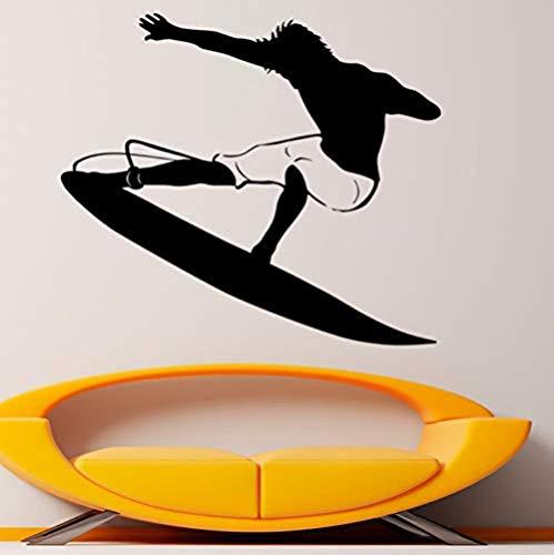 Pegatinas de pared 50X44 cm pegatinas de pared de deportes acuáticos surf calcomanías de vinilo extraíbles decoración del hogar para sala de estar