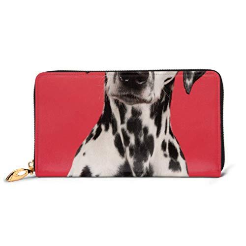 XHYYY Mode Handtasche Reißverschluss Geldbörse Porträt Dalmatiner Hund suchen Kamera am Telefon Clutch Geldbörse Abend Clutch Blocking Leder Brieftasche Multi Card Organiz