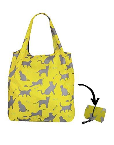 Re-Uz Lifestyle Shopper - pieghevole borse della spesa riutilizzabili - Happy Cats Sage Gatti