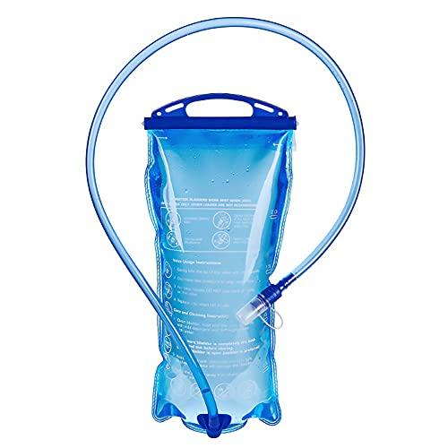 Joycabin Depósito de agua de 2 litros, repuesto actualizado a prueba de fugas con tubo aislado de liberación rápida para deportes al aire libre, senderismo, camping, escalada, ciclismo, correr (azul)