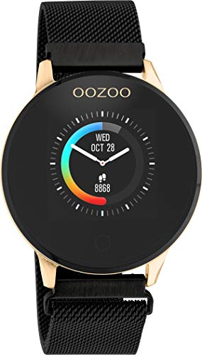 Oozoo Unisex Smartwatch mit Edelstahl Milanaiseband Rosegoldfaben/Schwarz 43 MM Q00118