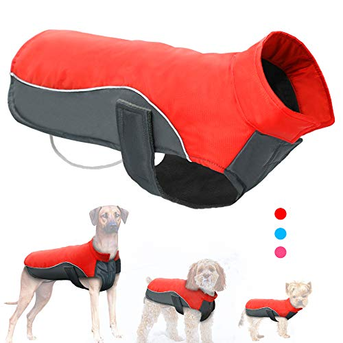 Didog Reflective Dog Winter Coat Sport Vest Jackets Snowsuit Apparel - 8 for Small Medium Large Dogs,Red,5XL Size