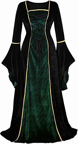 Josamogre Mittelalter Kleidung Damen samtkleid samt Kleid Renaissance viktorianischen kostüm maxikleid Vintage Retro trompetenärmel Grau...