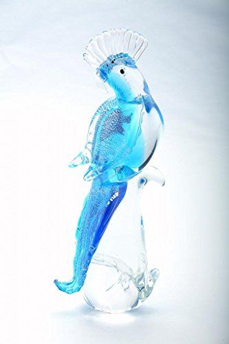 12' Hand Blown Art Glass Parrot Cockatoo Bird Figurine Blue Statue Decorative